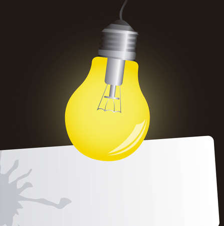 electric bulb on in the dark, space advertising. vector Stock Vector - 11317770