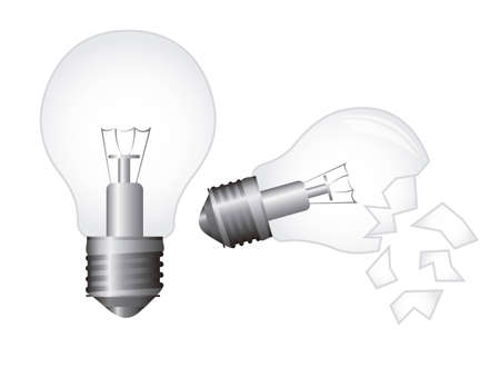 unsuccess: broken electric bulb and new bulb over white background. vector