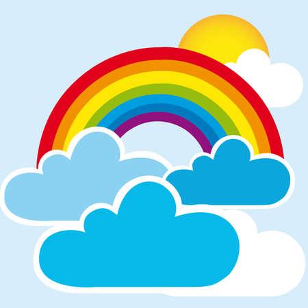 cartoon rainbow: arco iris y las nubes con el sol, paisaje. vector Vectores