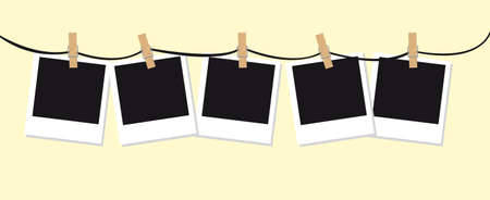 proceeding: blank photos with  clothes pin over beige background. vector Illustration