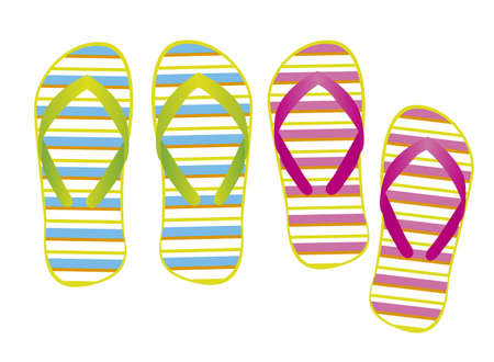 footware: cute flip flops with stripes isolated over white background. vector