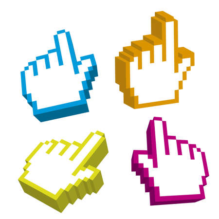 3d cursor hand isolated over white background. vector Vector