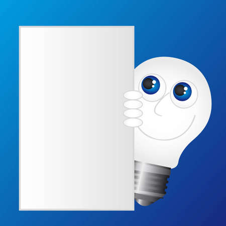 bulb electirc cartoon with blank advertising over blue background. vector Vector