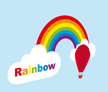 rainbow with cloud and air balloon with perspective. vector Vector