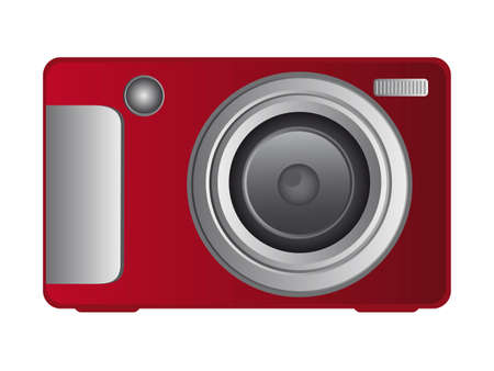 red digital camera isolated over white background. vector Vector