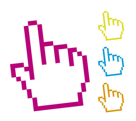 cute cursor hand isolated over white background. vector Vector