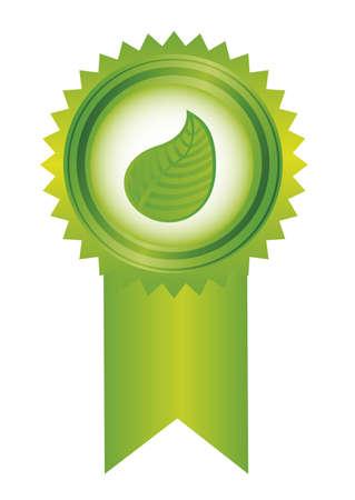 merit: green rosette with leaf isolated over white background. vector Illustration