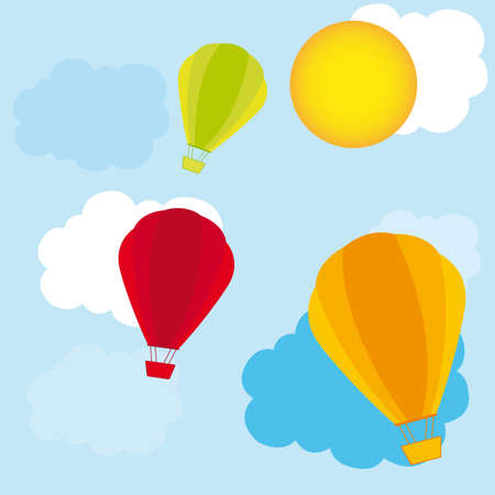 cute air balloons over sky with clouds. vector illustration Vector