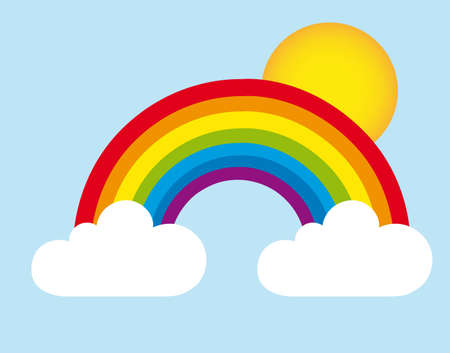 rainbow clouds: rainbow and clouds with sun, landscape. vector Illustration