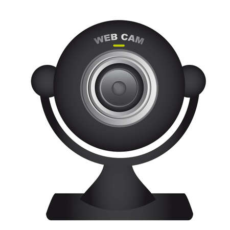 web cam: black web cam over white background. vector