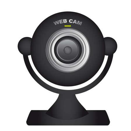 ressalto: black web cam over white background. vector