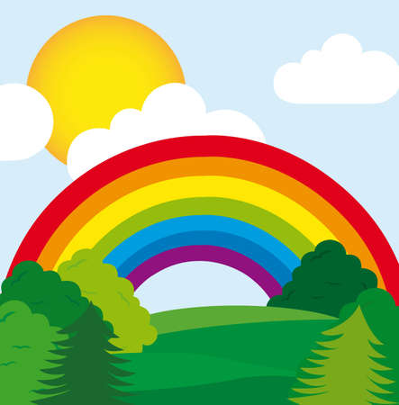 cute landscape with trees and rainbow. vector  Vector