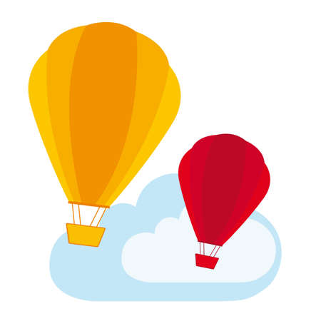 cute air balloons over  clouds. vector illustration Vector