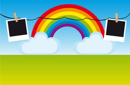 rainbow and clouds with photo, landscape. vector Vector
