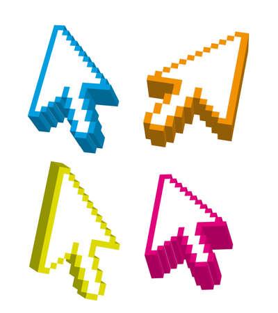 3d arrows cursor over white background. vector Vector