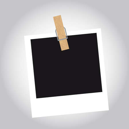 snapshot: photo with clothes pin over gray background. vector