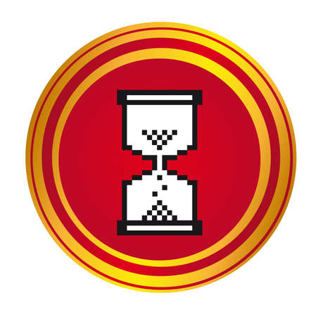 await: white hourglass cursor over red button. vector