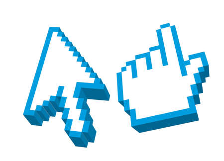 3d blue arrow and hand cursors isolated over white background. vector Vector