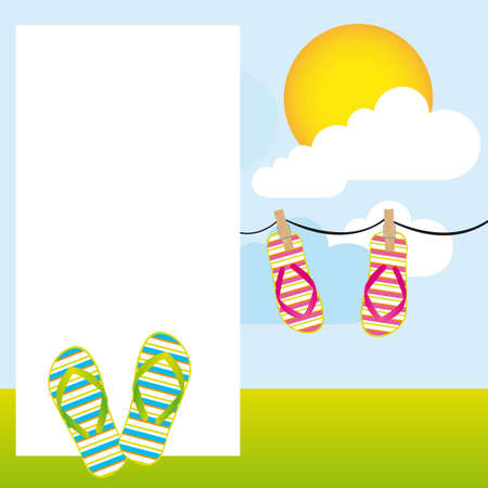 footware: summer day landscape with flip flops and blank advertising. vector Illustration