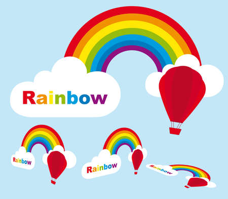rainbow with perspective with air balloons and cloud. vector Vector