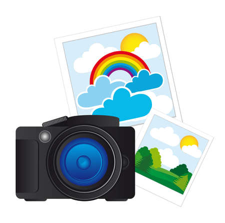 snaps: black camera with photos isolated over white background. vector Illustration