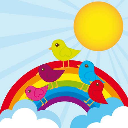 cute birds over rainbow background. vector illustration Vector