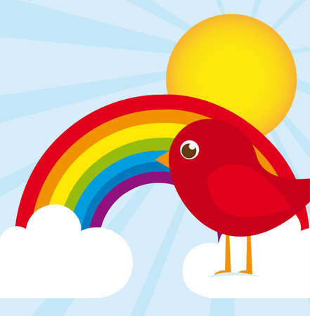 cute bird over rainbow, landscape. vector illustration Vector