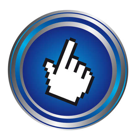 digital indicator: hand cursor over blue button isolated over white background. vector
