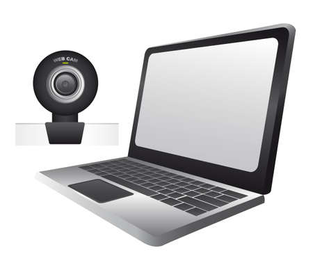 laptop with web cam isolated over white background. vector