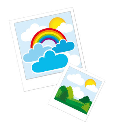 photos with landscape isolated over white background. vector Vector