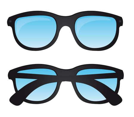 specs: black sunglasses with blue lens over white background. vector Illustration