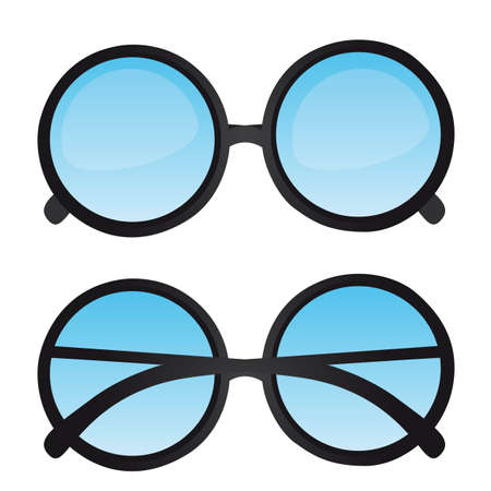 reading glass: gafas de empoll�n con lente azul aislado. ilustraci�n vectorial Vectores