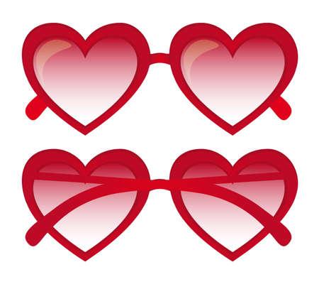sun protection: gafas de sol rojas del coraz�n sobre fondo blanco. ilustraci�n vectorial