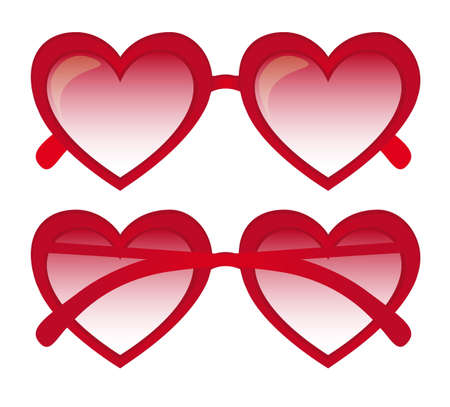 red heart sunglasses over white background. vector illustration