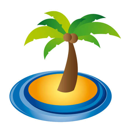 breezy: palm over sand and water isolated over white background. vector