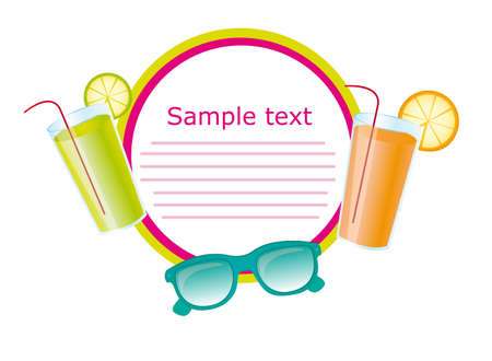 poolside: juices and sunglasses with space advertising. vector