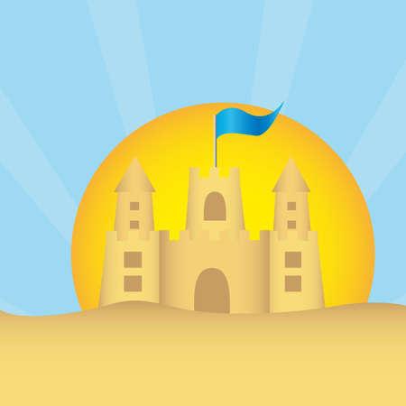 white sand beach: sandclastle with summer landscape over sand. vector Illustration