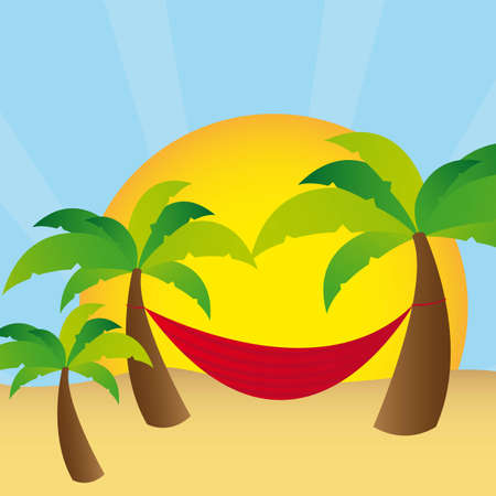 palms with  hammock, landscape sun. vector illustration Vector