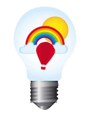 light bulb with rainbow isolated white background. vector Vector