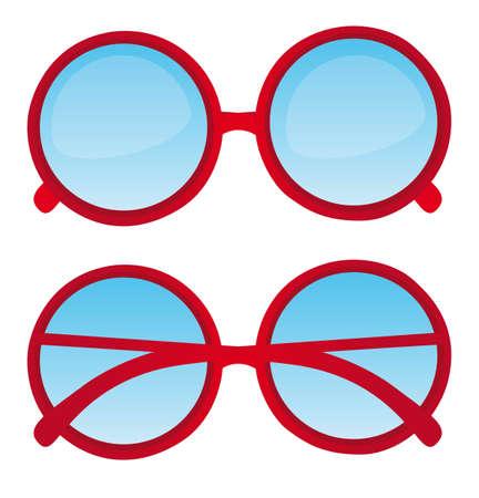 reading glass: c�rculo rojo gafas de empoll�n sobre fondo blanco. vector Vectores