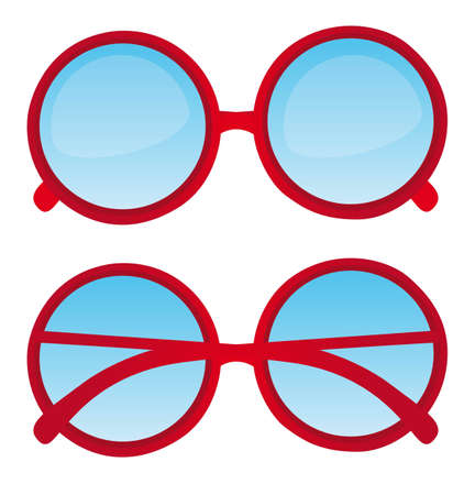 eyeglass: red circle nerd glasses over white background. vector