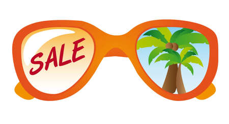 sunglasses reflection: orange glasses over white background. vector illustration Illustration