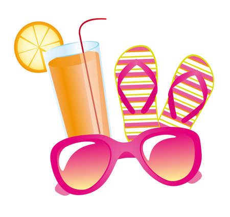고명: summer elements, juice with flip flops and sunglasses. vector