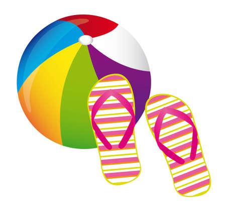 flipflops: beachball and flip flops over white background. vector Illustration