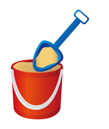 shovel: bucket and spade with sand. vector illustration