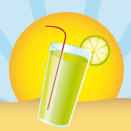 lemonade juice over landscape desert. vector illustration Stock Vector - 11317784