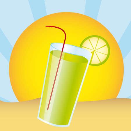lemonade juice over landscape desert. vector illustration Stock Vector - 11317784