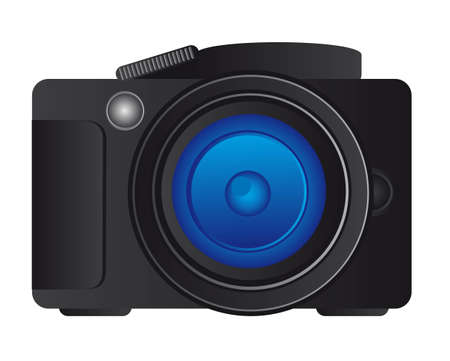 profesional: black camera profesional over white background. vector