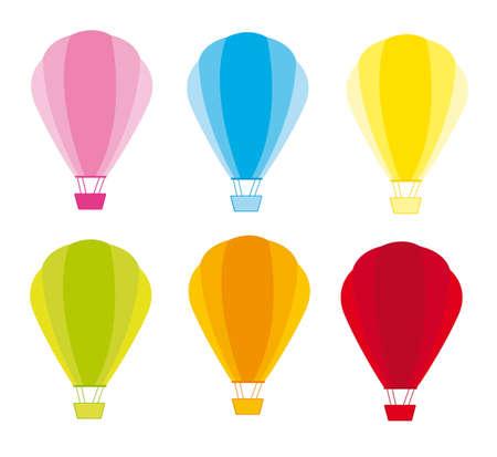 luftschiff: Bunte Hei�luftballons auf wei�em Hintergrund. Vektor Illustration