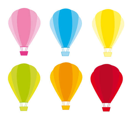Colorful hot air balloons isolated over white background. vector Illustration